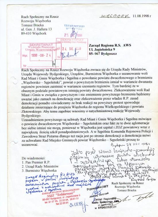 Zostaliśmy oszukani przez Rząd III RP Sejm PR powołał Powiat Więcborko-Sępoleński a Rząd Buzka bezprawnie go zablokował!
