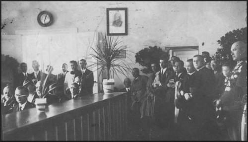 Prezydent Polski Ignacy Mościcki i Marszałek Polski Józef Piłsudski i gen. Edward Rydz Śmigły w domu Jana Bracka na więcborskim rynku, gdzie w czasach II RP mieścił się Urząd Miejski w Więcborku