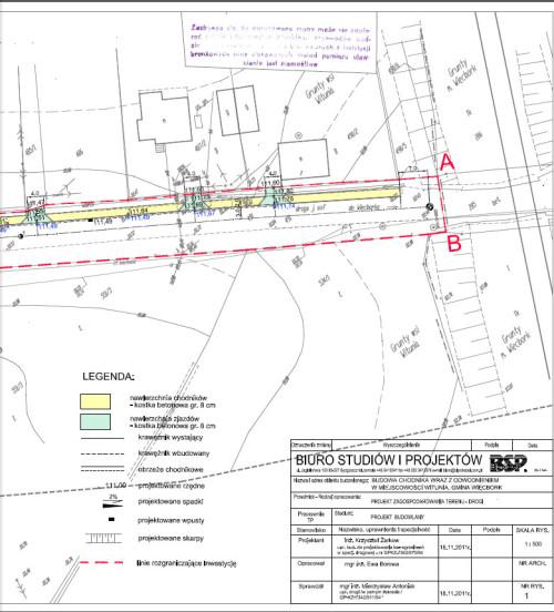 Mapa nowego chodnika w Wituni