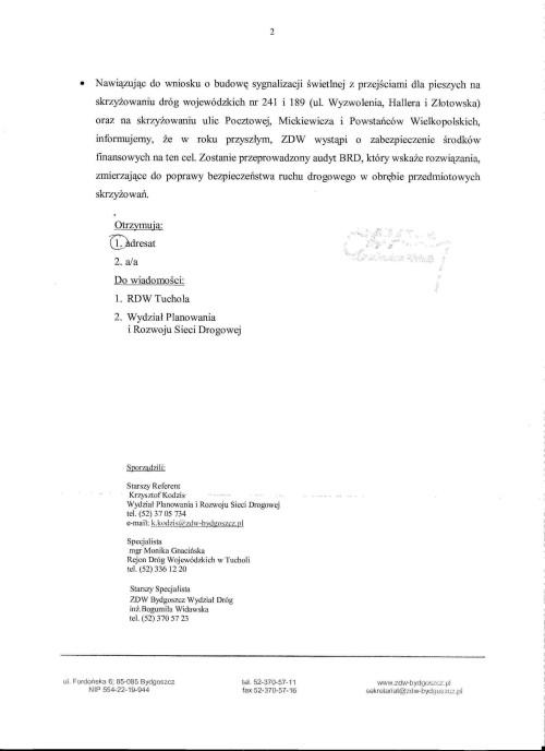 Pismo dyrektora ZDW do Tomasza Bracka w/s budowy ronda w Więcborku i audytu na kolejne dwa skrzyżowania