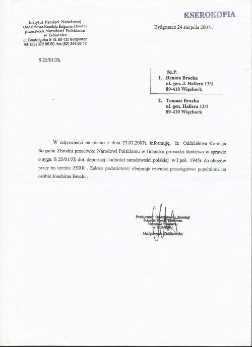 Status pokrzywdzonego przez komunistów sybiraka Joachima Bracka wydany przez IPN