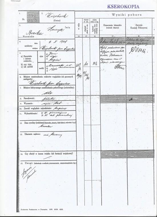 Przyjęcie do wojska Polskiego w II RP mojego dziadka Henryka Bracka z wykazaniem narodowości i obywatelstwa Polskiego