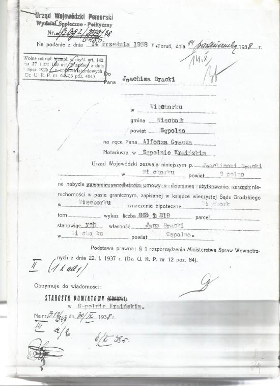 Zgoda władz wojewódzkich II RP na nabycie nieruchomości w Więcborku z potwierdzeniem narodowości i obywatelstwa polskiego