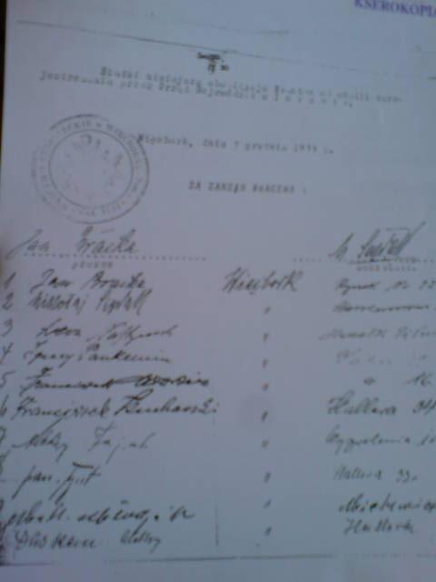 Obecny statut KBS Więcbork z dnia 03 grudnia 1933 r. podpisany przez Prezesa Jana Bracka