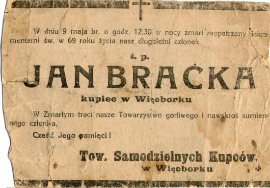 Nekrolog po śmierci Jana Bracka 9 maja 1938 r.