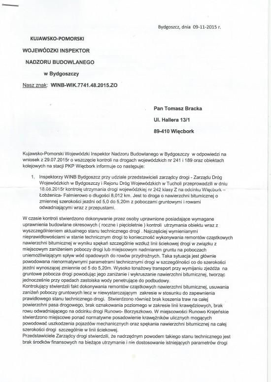 Pismo Kujawsko - Pomorskiego Wojewódzkiego Inspektora Nadzoru Budowlanego w Bydgoszczy do Tomasz Bracka