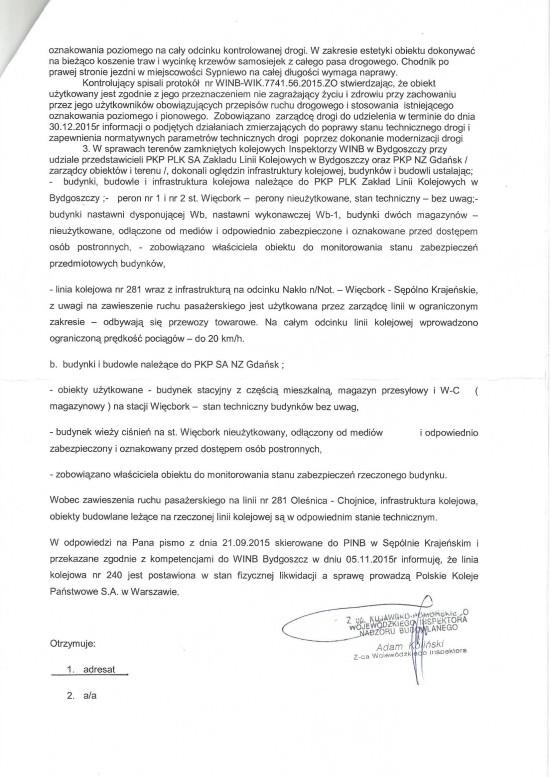 Pismo Kujawsko - Pomorskiego Wojewódzkiego Inspektora Nadzoru Budowlanego wBydgoszczy doTomasz Bracka