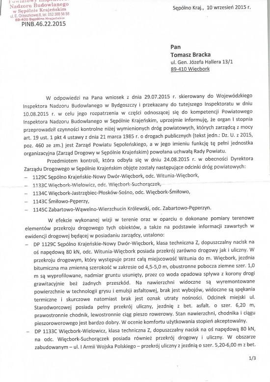 Pismo Powiatowego Inspektora Nadzoru Budowlanego w Sępólnie Kr do Tomasz Bracka