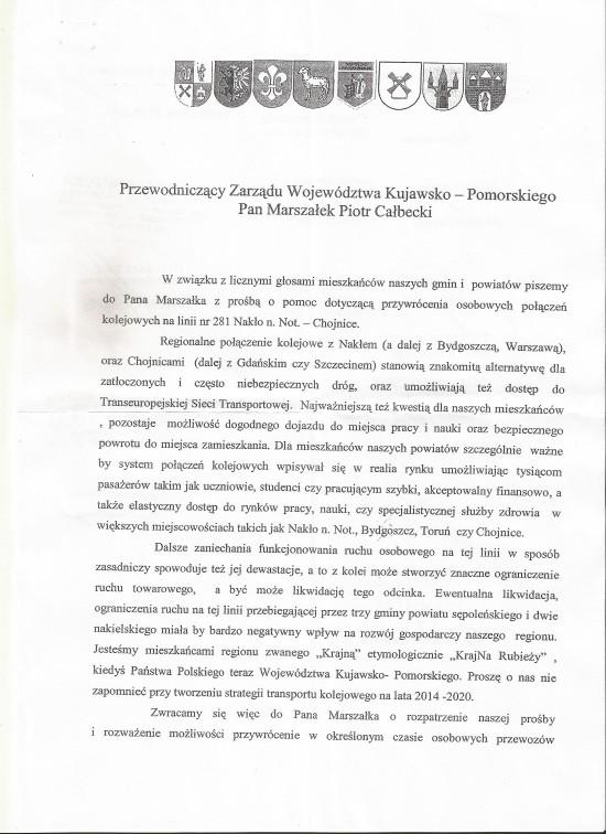 Linia kolejowa PKP relacji Nakło n/Not - Mrocza - Więcbork - Sępólno Kr. - Kamień Kr. - Chojnice do otwarcia !!!