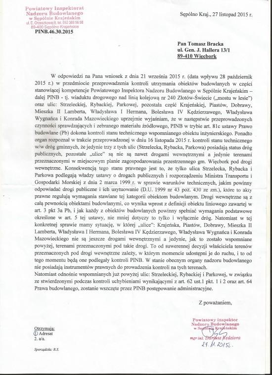 Protokół pokontrolny PINB wSępólnie kr, powniosku Tomasza Romana Bracka nadrogach gminnych wWięcborku w2015 r.