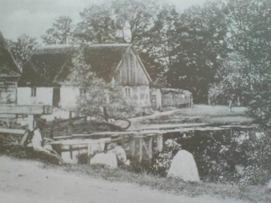 Dom i las z rzeką Joachima Bracka przy tamie w Więcborku