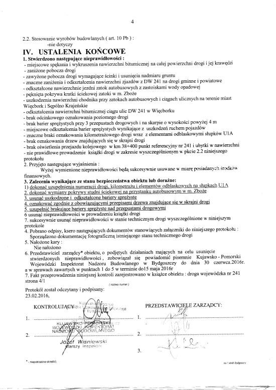 Protokół pokontrolny na Drodze Wojewódzkiej nr 241 na odcinku Zabartowo - Więcbork - Tuchola