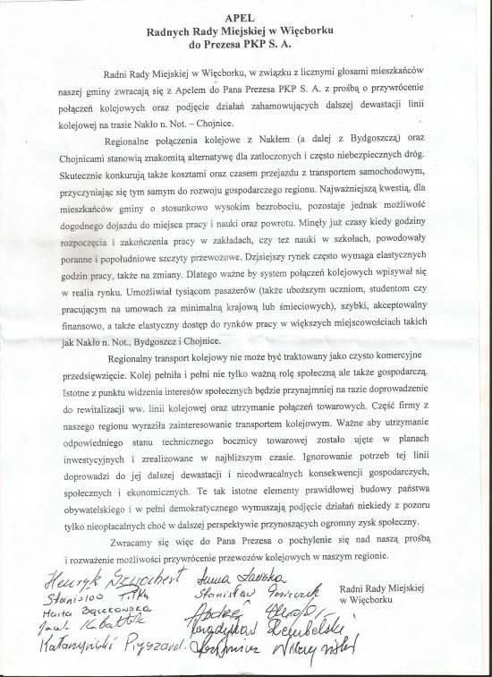 Apel Rady Miejskiej w Więcborku do Marszałka Całbeckiego i PKP SA w sprawie uruchomienia stałych przewozów pasażerskich na Llinii kolejowej nr 281 Nakło n/ Not - Więcbork - Chojnice