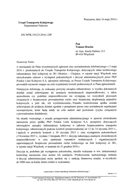 Pismo UTK do Tomasz Bracka w/s LK 281 i PKP Więcbork.