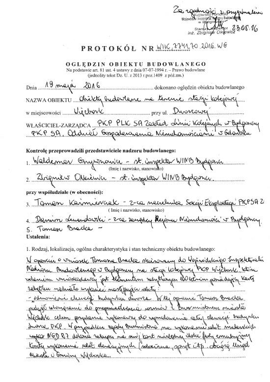 Protokół pokontrolny z kontroli stacji PKP Więcbork 19. 05. 2016 r. przeprowadzonej na wniosek Tomasza Bracka na rzecz remontu i stacji i dworca PKP Więcbork