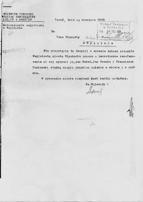 Jan Bracka polski polityk współtwórca wolnej Polski po latach zaborów udostępnił własny na więcborskim Rynku na Urząd Miejski i na mieszkanie dla Burmistrza Lindeckiego - dokument pismo   Wojewody Pomorskiego w Toruniu 1923r.
