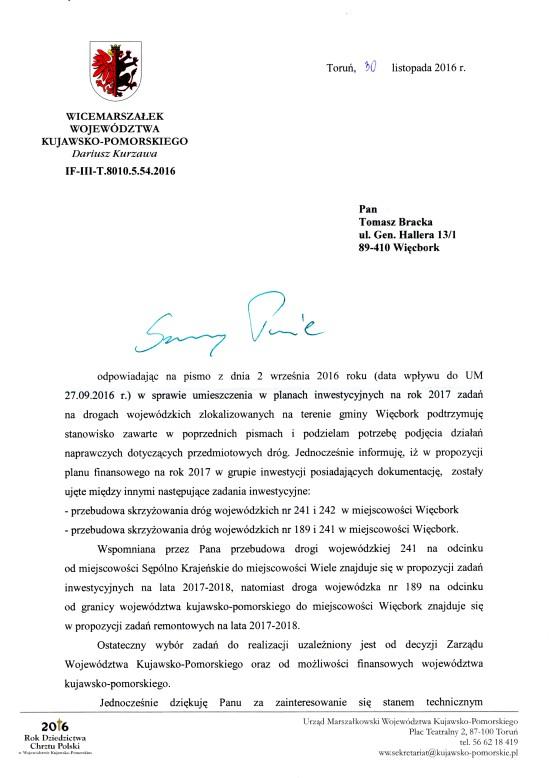 Pismo Marszałka Województwa do Tomasza Bracka