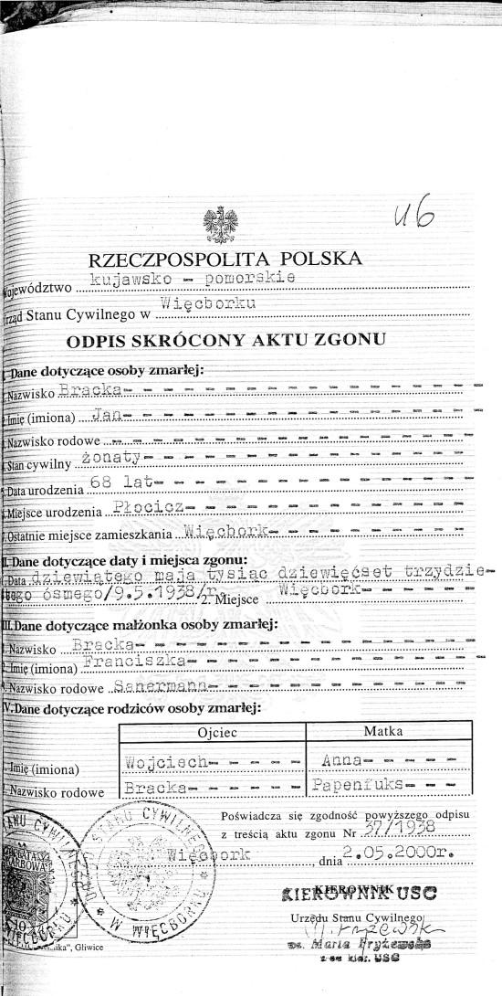 Akt zgonu Jana Bracka z dnia 9 maja 1938 r. wydany przez USC Więcbork