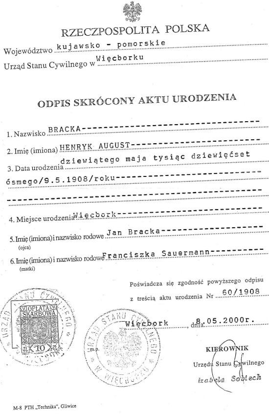 Akt urodzenia Henryka Bracka