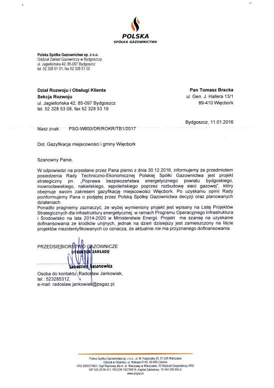 Gazyfikacja miasta i gminy Więcbork nastąpi na mój wniosek do 2020 r, Tomasz Bracka
