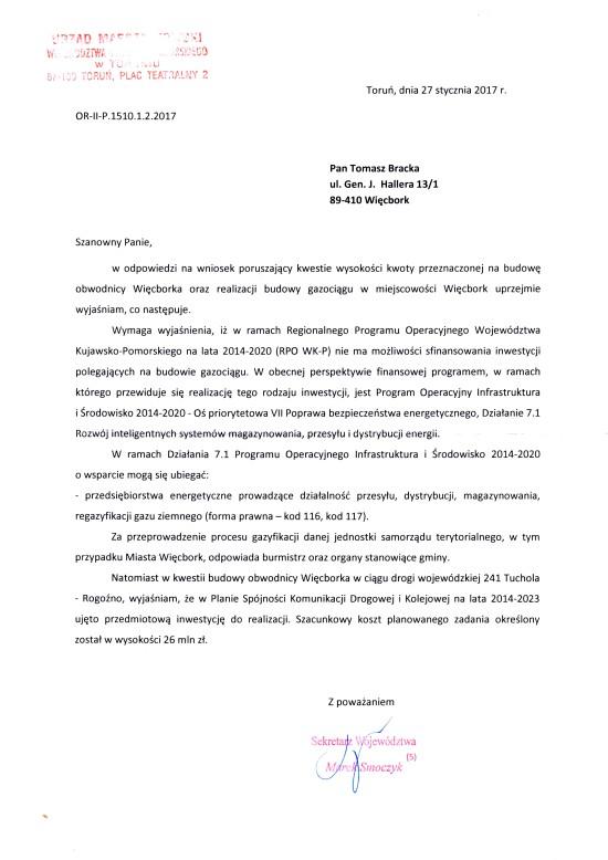 Po skutecznej interwencji z mojej strony przyznano 26 000 000 złotych z Urzędu Marszałkowskiego w Toruniu na obwodnice Więcborka. Tomasz Bracka