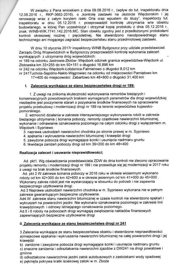 Raport pokontrolny WINB Bydgoszcz skierowany na moje ręce 31. 01. 2017 r. - Tomasz Bracka
