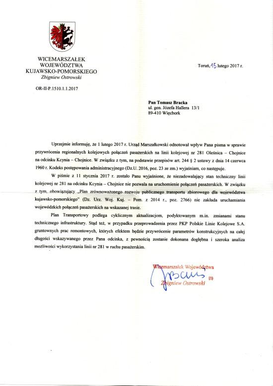 Pierwsza publiczna deklaracja Marszałka województwa kujawsko - pomorskiego od 18 lat skierowana na moje ręce w sprawie możliwości wznowienia przewozów pasażerskich na stacji PKP Więcbork i LK 281 - Tomasz Bracka