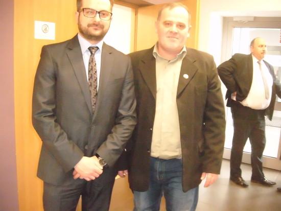Na zdjęciu dyrektor Ministra Infrastruktury i Budownictwa i ja przed wywiadem dla I Programu Polskiego Radia.