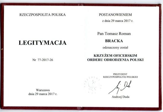 Dziękuję Panie Prezydencie RP dr. Andrzeju Duda !!! Dziękuje Polsko !!! Tomasz Roman Bracka