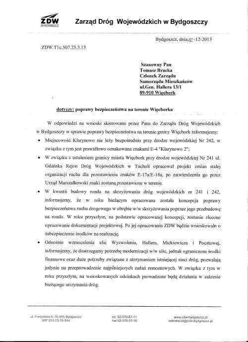 Poniżej dokument ZDW Bydgoszcz, z ujawnieniem kto to nowe rondo w Wiecborku w 2013 roku wywalczył czyli ja Tomasz Roman Bracka