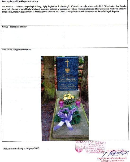 Karta nr 14 miejsca Pamięci Narodowej na grobie Jana Bracka z 2015 r. podpisana przez Burmistrza Więcborka