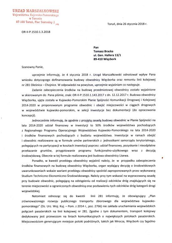 Po mojej skutecznej interwencji do 2020 roku powstanie obwodnica Więcborka - Tomasz Roman Bracka
