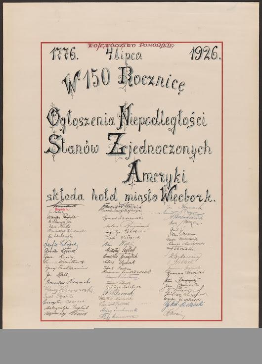 """W 1926 roku do Białego Domu i prezydenta USA Calvina Coolidge'a trafiło 111 tomów z ponad 30 tys. stron podpisów obywateli II RP – miało to być niezwykłe podziękowanie za wkład Stanów Zjednoczonych w odbudowę niepodległej Polski i jednoczesne uczczenie 150. rocznicy ogłoszenia amerykańskiej deklaracji niepodległości. Pod """"Polską Deklaracją"""" podpisy złożyli m.in. prezydent Ignacy Mościcki, premier Kazimierz Bartel, marszałek Józef Piłsudski i prymas Aleksander Kakowski i mój pradziadek Jan Bracka co można przeczytać na załączonym dokumencie na pozycji 5. Co teraz powie oszust medialny Pankanin z jego lichym burmistrz pewnie ze wstydu się spalą niegodziwcy. Oczywiście nie tylko państwowi dostojnicy przesłali życzenia za ocean – ogromna liczba 5,5 mln sygnatariuszy sprawia, że prawie każdy Polak może wśród nich znaleźć dziś jakiegoś krewnego.150 USA źródło informacji http://polska1926.pl/karty/31578 Tomasz Roman Bracka"""