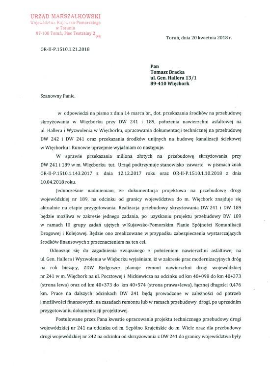 Kolejny wielki mój sukces w Urzędzie Marszałkowskim w Toruniu w sprawie inwestycji drogowych w mieście i gminie Więcbork i akceptacja Marszałka Województwa dla kanalizacji ściekowej Więcborka i Runowa - Tomasz Roman Bracka