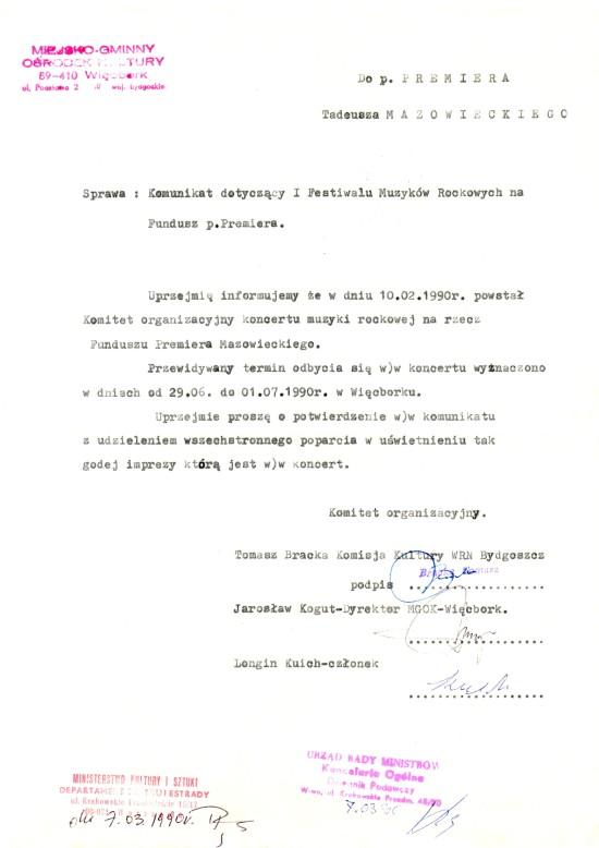 Byłem jedynym z poza Bydgoszczy przedstawicielem opozycji antykomunistycznej w Wojewódzkiej Radzie Narodowej w Bydgoszczy w 1989 r, co świadczyło o mojej bardzo wysokiej pozycji w wojewódzkiej opozycji antykomunistycznej w PRL. Załączony dokument podpisany przeze mnie do Premiera Mazowieckiego to poświadcza w.s festiwalu na rzecz funduszu Premiera Mazowieckiego, którego byłem współorganizatorem, a który festiwal zablokowała nielegalnie Rada Miejska Więcborka pierwszej kadencji.