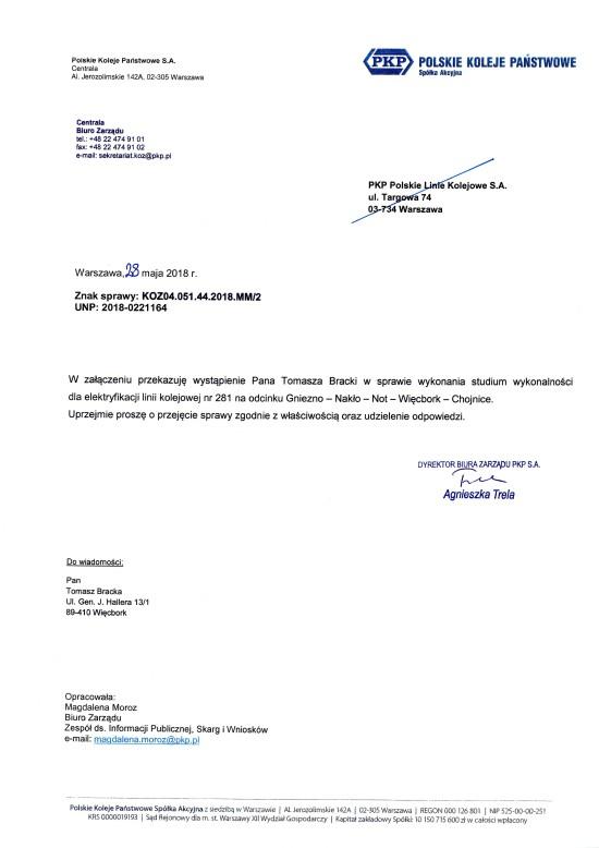 Mój wniosek o elektryfikacje LK 281 Gniezno - Więcbork - Chojnice już u Prezesa PKP PLK SA - Tomasz Roman Bracka