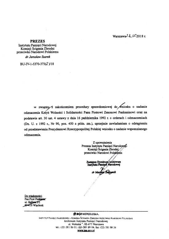 Czy Piotr Pankanin z Więcborka był TW SB, gdyż Prezes IPN odmówił odznaczenia tego kłamcy medialnego Krzyżem Wolności i Solidarności, który chciał ten order wyłudzić od Prezesa IPN i Prezydenta RP !!!