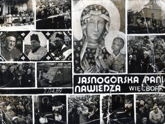 Przywitanie Królowej Polski w Więcborku 30 lat temu przez mieszkańców Więcborka i opozycjonistów antykomunistycznych w tm mnie Tomasza Roman Bracka pod szyldem Solidarności oraz Federacje Młodzieży Walczącej, której przewodniczyłem za komuny na tym terenie - Tomasz Roman Bracka
