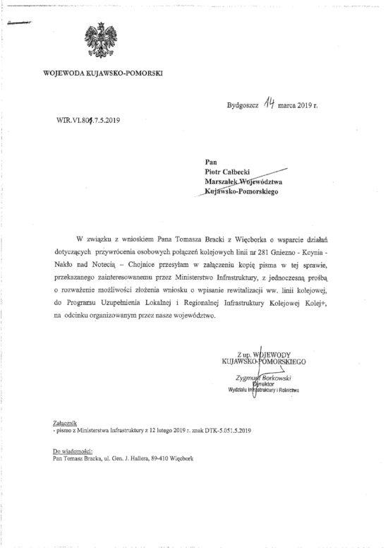 Wojewoda Kujawsko - Pomorski popiera wznowienie pasażerskich PKP na LK 281 w Więcborku !