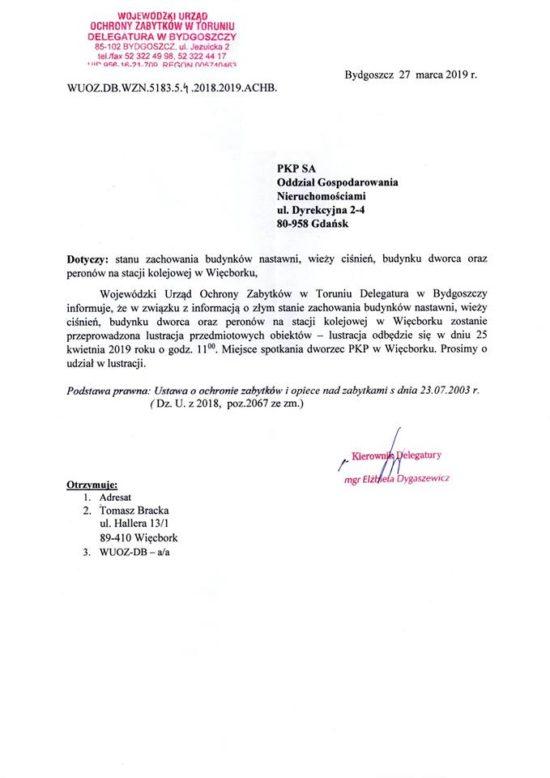 Kolejna kontrola stacji PKP Więcbork i stacyjnych budynków PKP z dworcem włącznie wywołana na mój wniosek i z moim udziałem już w czwartek 25 kwietnia 2019 r.