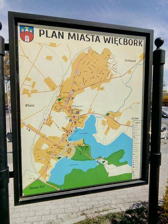 Plan Miasta Więcbork z ulicami widmo - foto Tomasz Roman Bracka