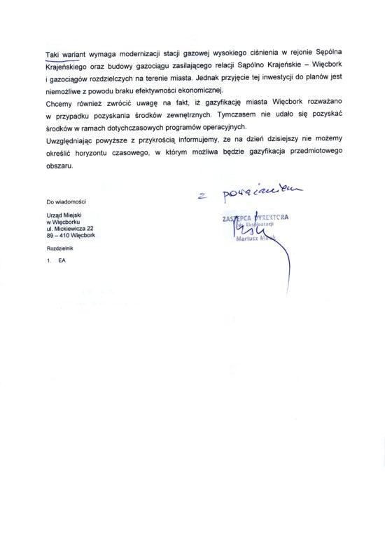 To ja a nie Kuszewski czy jego medialne kadzielnice walczyłem o gaz ziemny dla Więcborka już 6 lat temu co potwierdza kolejne pismo PSG z 2013 roku skierowane na moje ręce członka Zarządu Samorządu Mieszkańców Więcborka ! Tomasz Roman Bracka