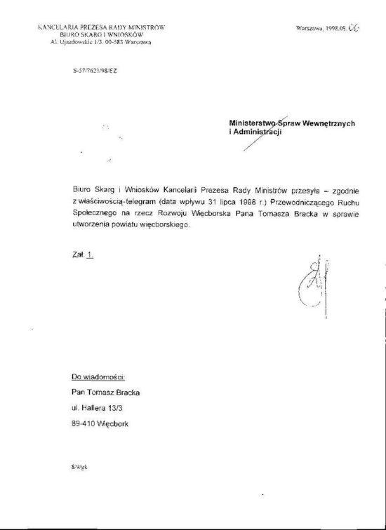 Jedynie Więcbork spełniał wymogi Ustawowe by zostać powiatem i spełnia je do dnia dzisiejszego ! By mógł powstać powiat gmina musi posiadać następujące instytucje szpital, szkoły policealne, straż pożarną i policję. Jedynie Więcbork w powiecie posiada komplet tych instytucji dlatego rozważane było utworzenie powiatu Więcborskiego - Tomasz Roman Bracka