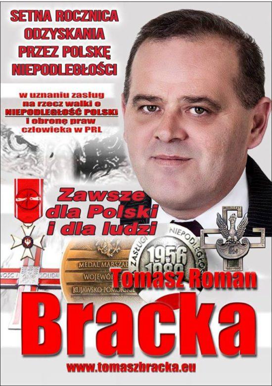 Niech się Święci 3 Maja w 100 rocznicę odzyskania niepodległości przez prezydenckie miasto Więcbork ! Tomasz Roman Bracka