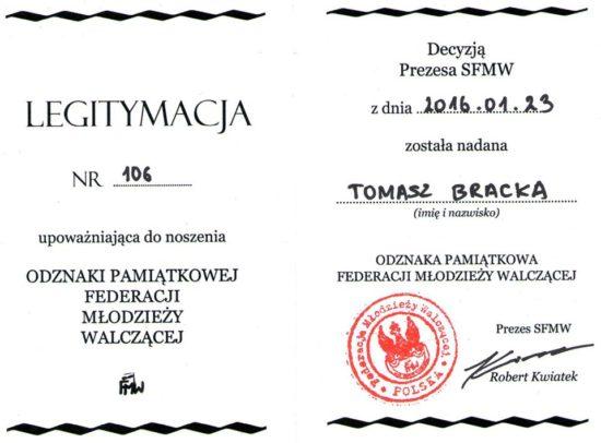 Dziękuje prezesowi FMW za odznaczenie Tomasz Roman Bracka