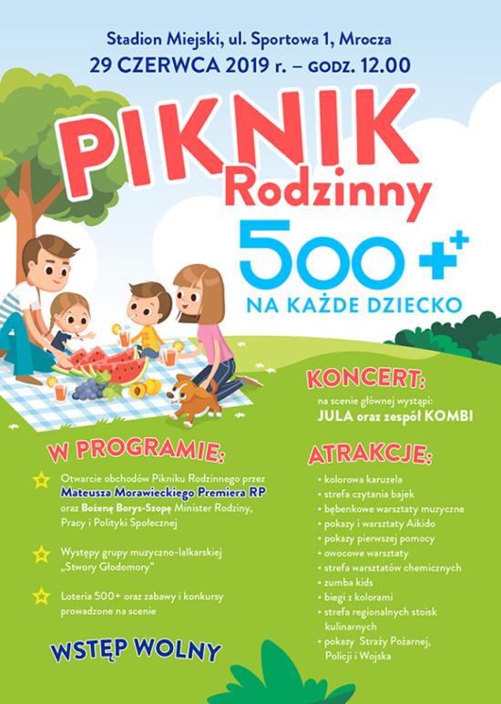 W Mroczy k/Więcbork trwa piknik rodzinny 500+ na każde dziecko