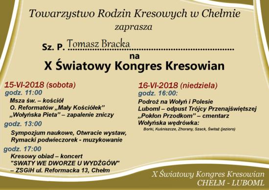 Dziękuję za zaproszenie - Tomasz Roman Bracka
