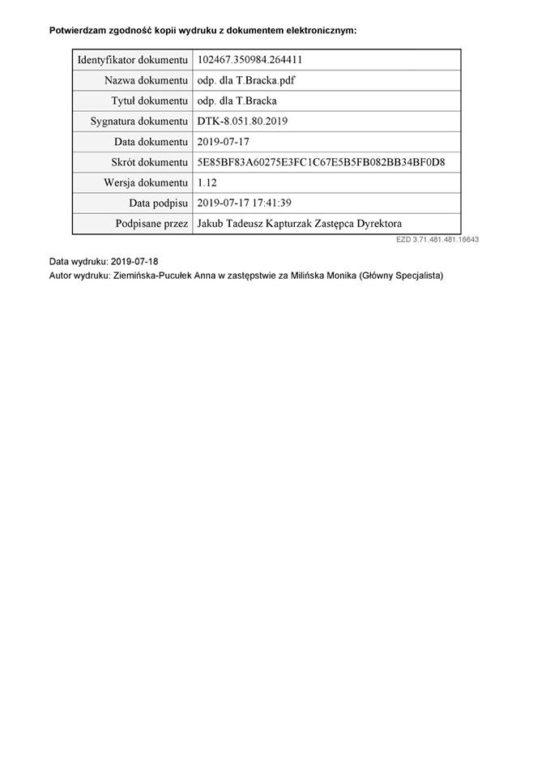 Po mojej interwencji w Rządzie RP Minister Infrastruktury potwierdza 17 lipca 2019 r. Linia Kolejowa nr 281 zostanie zrewitalizowana i przebudowana na całym odcinku Gniezno - Janowiec Wielkopolski - Kcynia - Nakło n/Not - Mrocza - Więcbork - Sępólno Kr. - Kamień Kr. - Chojnice. Tomasz Roman Bracka