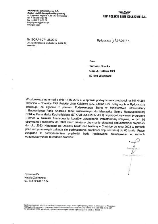 PKP PLK SA Bydgoszcz potwierdza wywalczoną prze mnie rewitalizacje LK 281 od Nakła n/Not przez Więcbork do Chojnic w ramach programu utrzymaniowego i podwyższenie prędkości na całym szlaku do 60 km na godzinę do 2023 r.. - Tomasz Roman Bracka