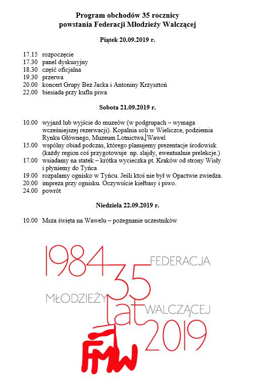 Stowarzyszenie FMW zaprasza do Krakowa na obchody 35 rocznicy powstania Federacji.